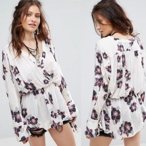 FREE PEOPLE NEW TUSCAN DREAMS WRAP BLOUSE ~ M